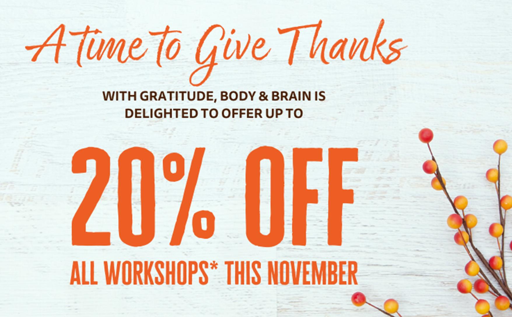 November Special 20 Off Workshops