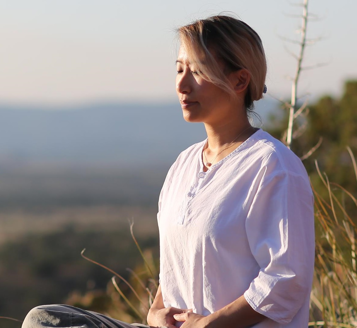 woman practicing breathing