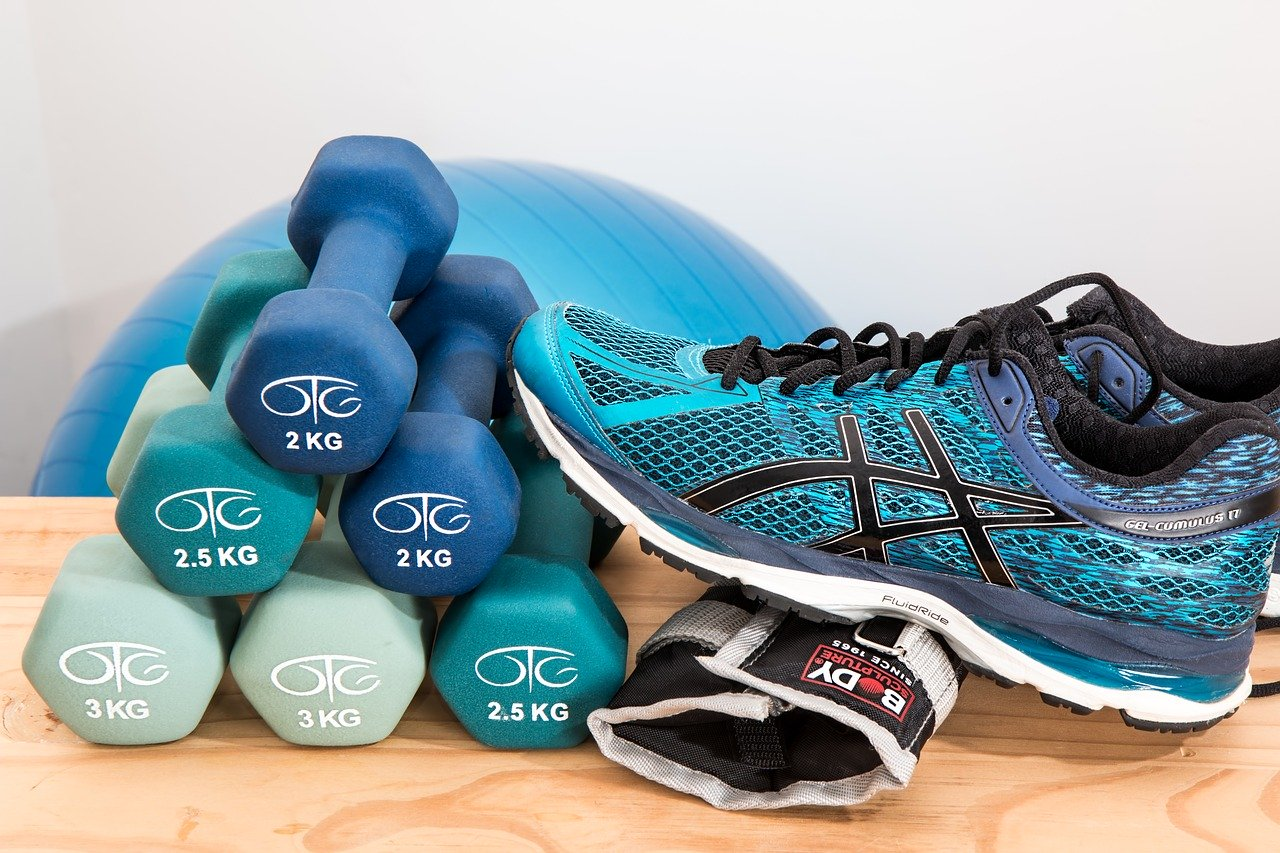 exercise shoes and weights